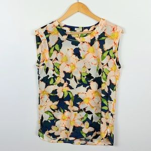 J CREW floral sleeveless top size S